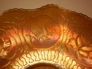 Antique Carnival Iridescent Dragon Lotus Bowl 9. x 2