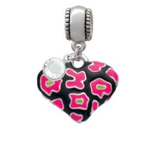 Hot Pink Enamel Cheetah Print Heart   Two Sided Charm European Charm