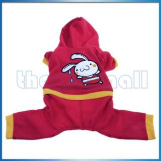 Dog Pet Puppy Coat Jacket Hoodie Clothes Apparel Rabbit
