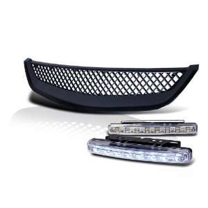 Eautolight 01 02 03 Honda Civic JDM ABS Front Hood Grill Grille + LED