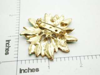 Vintage Red & Green Poinsettia Flower Brooch