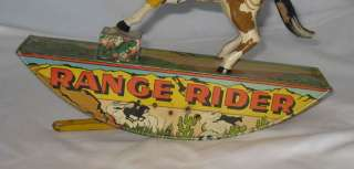 1930s MARX RANGE RIDER TIN LITHO WIND UP COWBOY ROCKING TOY GREAT
