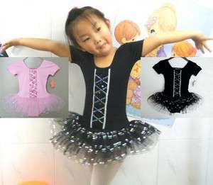 2Colour Girls Dance Skate Ballet Leotard Tutu Skirt Dress SZ 3 8Y
