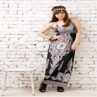 NEW Sexy Women Thailand Totem Printing Sleevess Bohemia Long Dress 2