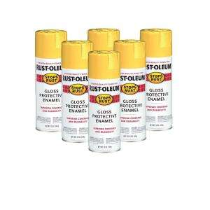 Rust Oleum Stops Rust 12 Oz. Gloss Sunburst Yellow Spray Paint (6 Pack
