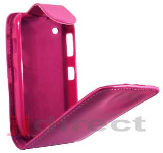 For Blackberry 8520 Curve Hot Pink Leather Case Pouch