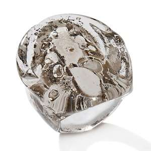 Murano by Manuela White and Black Oval Glass Ring