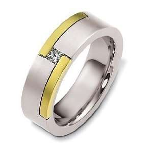 Designer 14 Karat Two Tone Gold Unique Solitaire Diamond Wedding Band