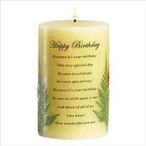 HAPPY BIRTHDAY CANDLE DECORATIVE CENTER PIECE PILLAR