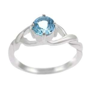 Sterling Silver Twisted Band with Round Blue Topaz Ring Jewelry