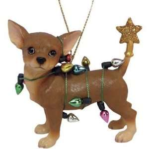 Chihuahua Tangled In Christmas Lights Tree Ornament