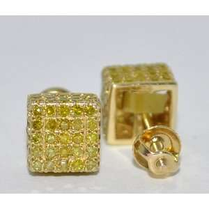 Yellow Canary Diamond Stud Earrings Cubes 1.1ct 10K Yellow
