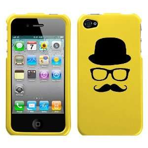 black silhouette of hat glasses mustache design on yellow