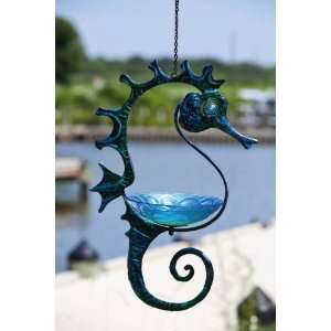 NCE Garden,Glass and Metal,Hanging Bird Feeder, Seahorse