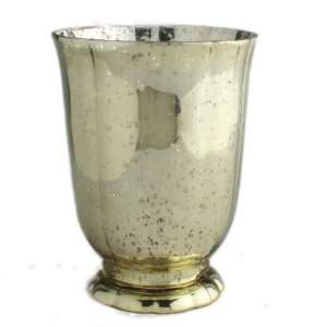 Tag 651221 Small Mercury Glass Footed Hurricane Candle Holder/Vase