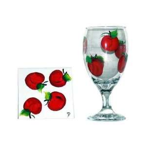 ArtisanStreets Set of 2 Hand Painted Apple Water Glasses