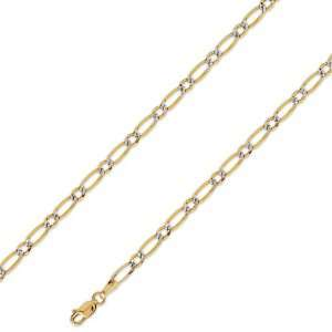 14K Solid Yellow 2 Two Tone Gold Figaro 1+1 Chain Necklace