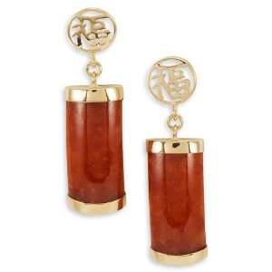 Solid 14k Gold Good Luck Red Agate Dangle Earrings Jewelry