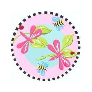 Pink Dragonfly Kids Rug in Multi   39 Round   Jade