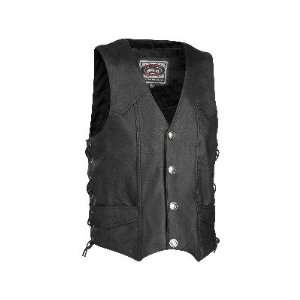 River Road Wyoming Nickel Leather Motorcycle Vest Black XL Automotive