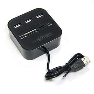 Flash Media Memory Card Reader / Writer Plus USB 2.0 Three Ports Hub