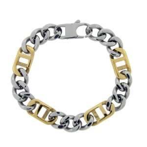 Mens Stainless Steel Two Tone Link Bracelet with 18k Gold