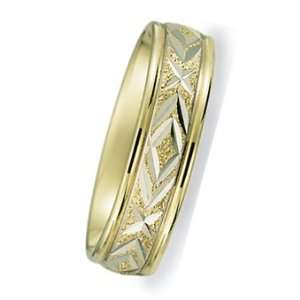 6.0 Millimeters Two Tone Gold Wedding Ring with Bright