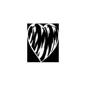 HRT (405) 6 white vinyl decal 3d sideways zebra print heart die cut