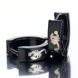 Black White Scorpion Stainless Steel Mens Ladies Unisex Hinged Snap