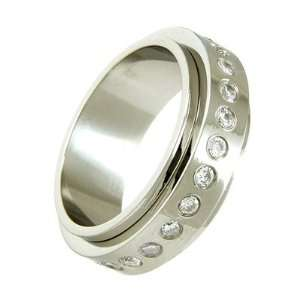 Mens Stainless Steel & Round CZ Spinner Ring   8 TrendToGo Jewelry