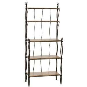 Stone County Rush Bakers Rack 5 Tier Furniture & Decor