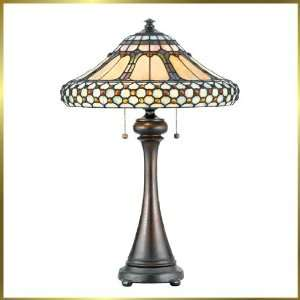 Tiffany Table Lamp, QZTF223T, 2 lights, Antique Bronze, 17
