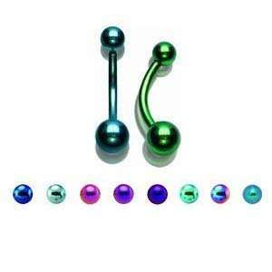 Purple Titanium Belly Ring with 4/6mm Balls   14G (1.6mm)   3/8 (10mm