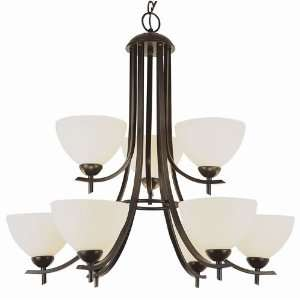 Trans Globe 9 Light Chandelier in Brushed Nickel Finish