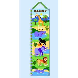 Olive Kids Personalized Wild Animals Canvas Growth Chart