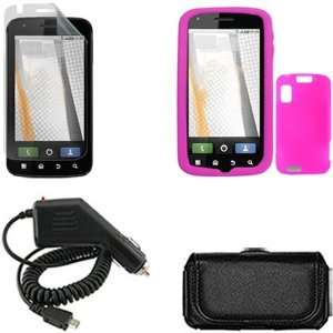 Trans. Hot Pink Silicone Skin Case Faceplate Cover + Rapid Car Charger
