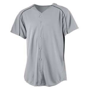Augusta Youth Wicking Button Front Custom Baseball Jersey SILVER GREY