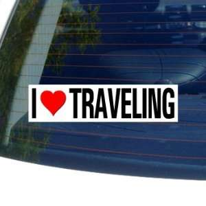 I Love Heart TRAVELING   Window Bumper Sticker Automotive