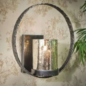Pewter Finish Circle Iron Wall Sconce, Set of 2