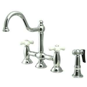 Double Handle Widespread Bridge Kitchen Faucet with Porcelain Cross