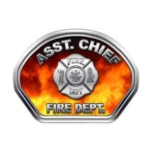 Firefighter Fire Helmet Front Face Assistant Chief Real Fire Decal