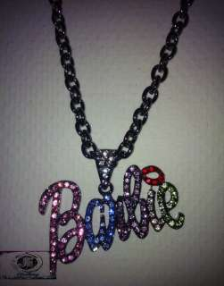 Holiday Gift Nicki Minaj 2 BARBIE Iced Out Necklace Hematite/Multi