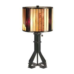 TT90273 Tiffany Table Lamp, Dark Antique Bronze and Art Glass Shade